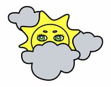 Dibujo Sol tapado pintado por Potte