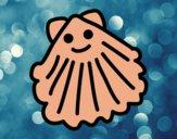 Dibujo Almeja feliz pintado por helio