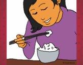 Dibujo Comiendo arroz pintado por Alberto10