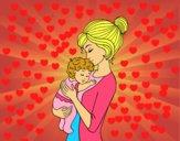 Dibujo Madre cogiendo al bebé pintado por CIELINDO