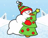 Muñeco de nieve abrazando árbol