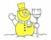 muñeco de nieve con escoba