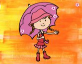 Dibujo Niña con paraguas pintado por LunaLunita