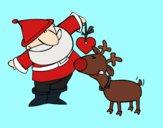 Dibujo Papá Noel y Rudolf pintado por MITZY21