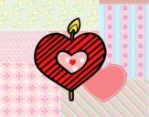 Dibujo Vela en forma de corazón pintado por colorista