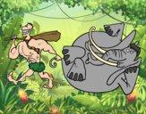 Dibujo Caza de elefante pintado por queyla