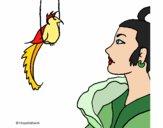 Dibujo Mujer y pájaro pintado por Kenndy