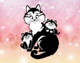 Dibujo Mamá gata y gatitos pintado por apleak