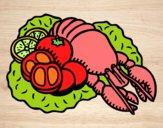 Dibujo Langosta con verduras pintado por LunaLunita
