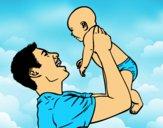 Dibujo Padre y bebé pintado por LunaLunita