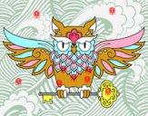 Dibujo Tatuaje de búho con llave pintado por SelPuki