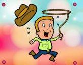 Dibujo Vaquero con cuerda pintado por meibol