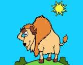 Dibujo Bisonte en el desierto pintado por LunaLunita