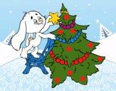Dibujo Conejo decorando el árbol de navidad pintado por LunaLunita