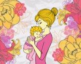 Dibujo Madre cogiendo al bebé pintado por LunaLunita