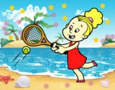 Niña jugando a tenis