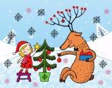 Dibujo Niña y reno pintado por LunaLunita