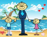 Dibujo Padre con sus hijos pintado por LunaLunita