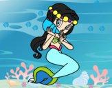 Sirena con una caracola