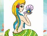 Dibujo Sirena y perla pintado por 132578