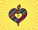 Dibujo Vela en forma de corazón pintado por LunaLunita