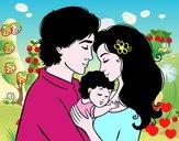 Dibujo Abrazo familiar pintado por livet