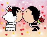 Dibujo Beso de recién casados pintado por sergiomarc