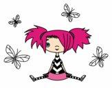 Dibujo Niña con mariposas pintado por lunapunk