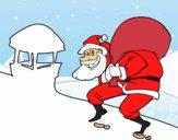 Dibujo Papá Noel y chimenea pintado por LunaLunita