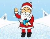 Dibujo Papá Noel y su regalo pintado por LunaLunita