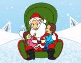 Dibujo Santa Claus con niños pintado por LunaLunita