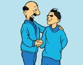 Dibujo Padre e hijo se estrechan la mano pintado por LunaLunita