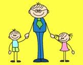 Dibujo Padre con sus hijos pintado por Thainem