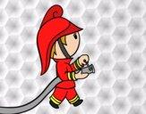 Dibujo Bombero con la manguera pintado por Arii_love