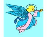 Ángel con grandes alas