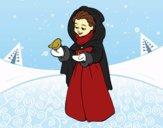 Mujer con pájaro en invierno
