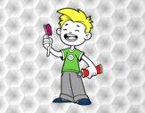 Niño con cepillo de dientes