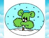 Ardilla en bola de nieve