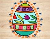 Dibujo Huevo de Pascua con tulipanes pintado por ddelfina
