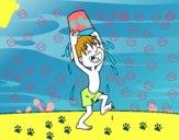Niño con cubo de agua