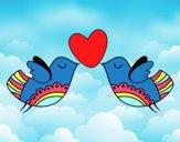 Dibujo Pájaros con corazón pintado por Sachiko468