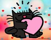 Dibujo El gato y el corazón pintado por teuQihcoX