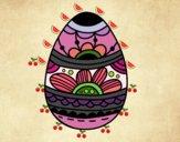 Dibujo Huevo de Pascua estampado floral pintado por maryfom