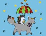 Dibujo Los animales y el otoño pintado por linda423