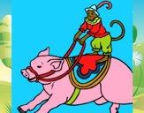 Mono y cerdo