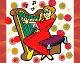 Dibujo Mujer tocando la arpa pintado por Baltaza