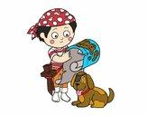 Niño pirata con su perro