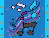 Dibujo Notas en la escala musical pintado por teuQihcoX
