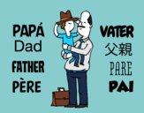 Dibujo Padre e hijo con sombrero pintado por katysosa12