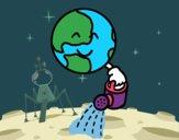 Dibujo Planeta con regadera pintado por RUBI45
